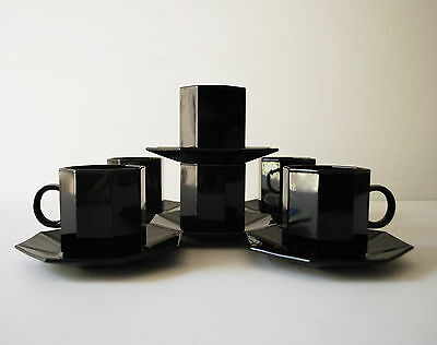 Lot of 6 Sets Black Glass Arcoroc France Octime Octagon Demitasse Cups & Saucer