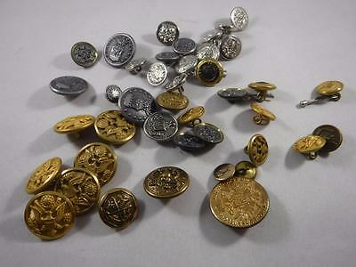 Large 39 Piece Vintage Collection of Metal Shank Buttons England Waterbury More