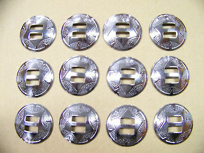 QUANTITY of (12) SLOTTED SILVER SADDLE CONCHOS ~~~ 1-1/2 INCH DIAMETER