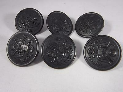 WWI WWII Waterbury Scovill Mfg. Co. Metal Shank Buttons Set of 6