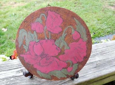 Vintage - Antique Wood Flue Pipe Cover or Wall Decoration - Flowers & Leafs
