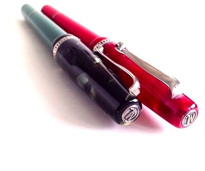 Marlen green Nature Fountain Pen F NIB + red Nature Rollerball-Ballpoint / M921