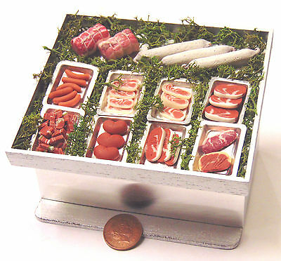 1:12 Fully Stocked Display Butchers Counter Dolls House Miniature Meat Accessory