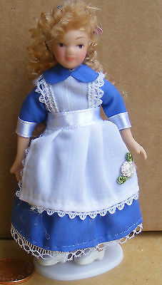 1:12 Scale Dolls House Miniature Accessory Victorian Girl In A Blue Alice Dress