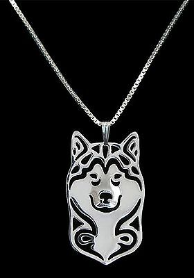 Alaskan Malamute Dog Pendant Necklace -  Fashion Jewellery - Silver Plated