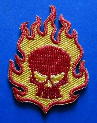 """THE OFFSPRING Small Skull & Flames EMBROIDERED IRON-ON PATCH 1.5"""" - punk smash"""