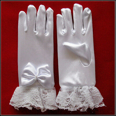 Children's Kids White Bow etiquette lace gloves Wedding Party School Perform RI