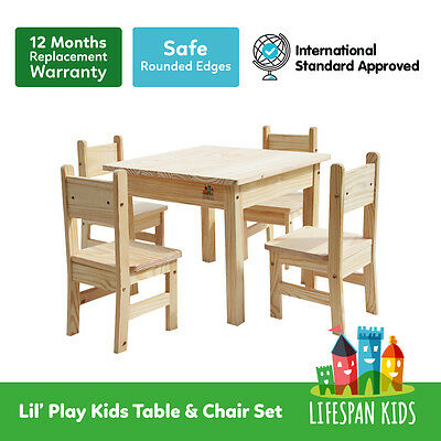 Children / Kids Playing Study Play Wooden Table with Chairs