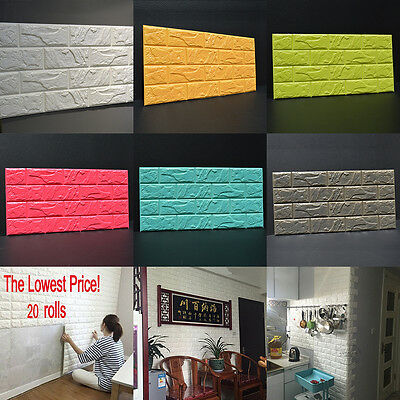 20 Roll 3D effect Flexible Stone Brick Wall Viny Wallpaper Self-adhesive 60*30CM