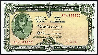 1975 CENTRAL BANK of IRELAND £1 LADY LAVERY BANKNOTE * 98K * VF+ *