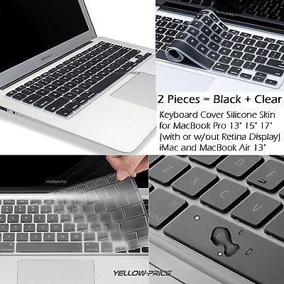 2PCS Slim Keyboard Cover Silicone Skin for MacBook Air 13'' iMac Pro 13'' 15''