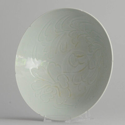 Chinese or Korean Light Green Moulded and Carved Celadon Bowl China Song Style