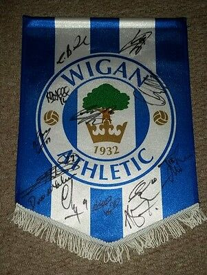 Wigan Athletic 20162017 squad signed pennant  AFTAL PROOF