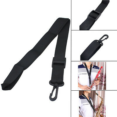 Black Adjustable Saxophone Sax Clarinet Durable Neck Strap with Hook Clasp RW4M
