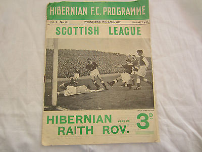 1952-53 SCOTTISH LEAGUE HIBERNIAN v RAITH ROVERS
