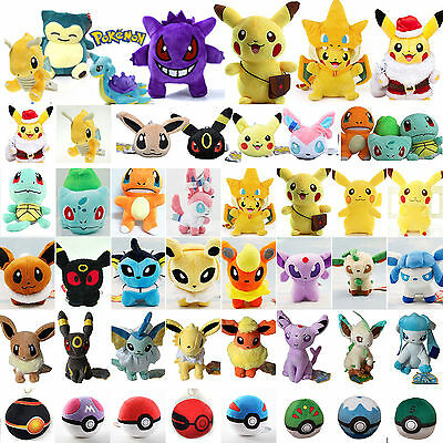 Pokemon Go Pikachu Eevee Squirtle Pokeball Plush Soft Toy Animal Stuffed Doll