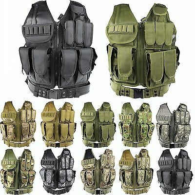 Military Hunting Tactical Camo Airsoft Molle Combat Mesh Vest w/Pistol Holster