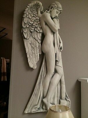 Large Resin Winged Angel Wall Plaque / Sculpture (Right Facing) Statue Home Dec