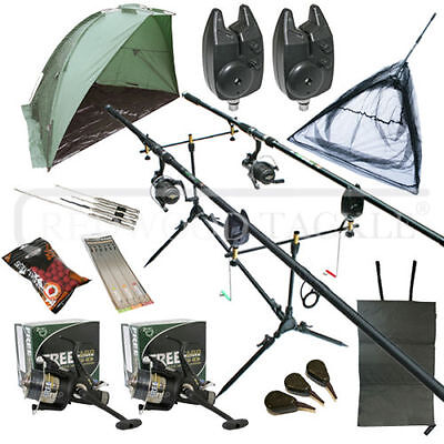 OAKWOOD Full Carp Fishing Set Up Kit Rods Reels Alarms & Tackle Mat & Shelter