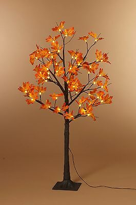 2ft/5ft/6ft Pre Lit Brown Maple Leaf Tree with Warm White LED Indoor Outdoor