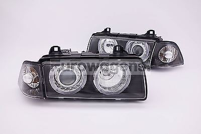 BMW 3 Series E36 91-00 Coupe Black Angel Eyes Headlights Headlamps Pair Set