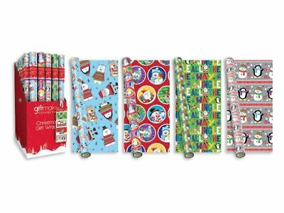 4 x 5M Christmas Xmas Roll Gift Wrap  Wrapping Paper Santa Cute Bear Penguin