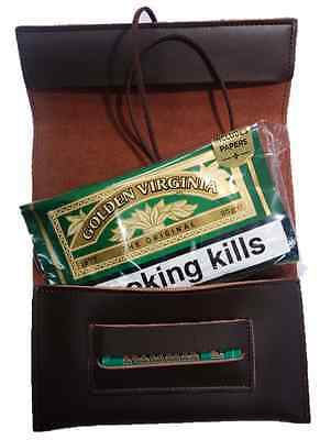Top Quality Genuine Leather Roll Up Tobacco Pouch Brown