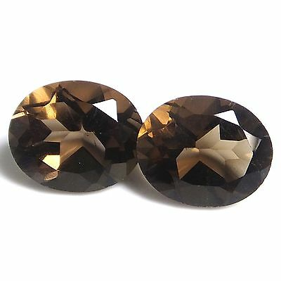 PAIR OF OVAL CUT 11x9mm.  6.59ct. ATTRACTIVE RICH SMOKY BROWN NATURAL QUARTZ