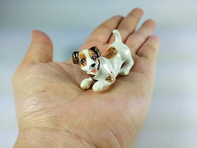 New Lovely Jack Russell Terrier Parson Puppy Dog Ceramic Miniature Figurine Gift