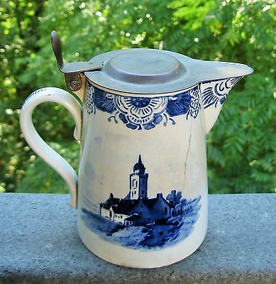Antique German Delft Artist Signed Syrup Pitcher Pewter Lid Nautical Scene