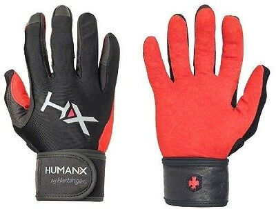 HumanX Men's X3 Competition Full Finger Wrist Wrap Gloves, Red/Black, Small