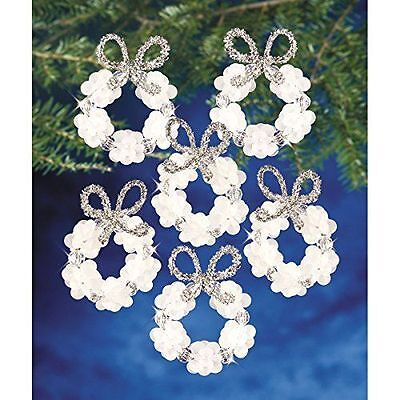 Beadery Plastic Holiday Beaded Ornament Kit Frosted Wreath 2.25-inch Makes 16