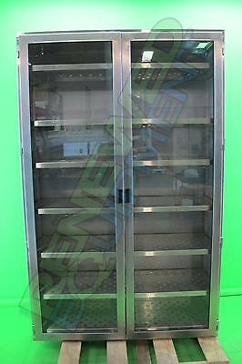 Stainless Steel Medical Lab Cabinet with Adjustable Vented Shelves & Glass Doors