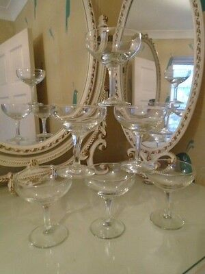 Retro Vintage Set Of 6 Champagne Saucers Glasses Hexagonal Stemmed Hand Made