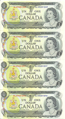 Bank of Canada 1973 $1 One Dollar Lot of 2 Consecutive Pairs ALV Prefix UNC