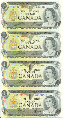 Bank of Canada 1973 $1 One Dollar Lot of 2 Consecutive Pairs ECL Prefix UNC