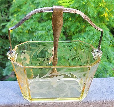 Rare Art Deco 1920's Heisey Crystal Amber Octagon Acid Etched Floral Ice Bucket