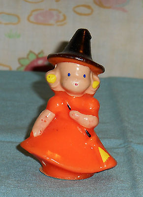 vintage Halloween GURLEY CANDLE little orange witch with blonde hair
