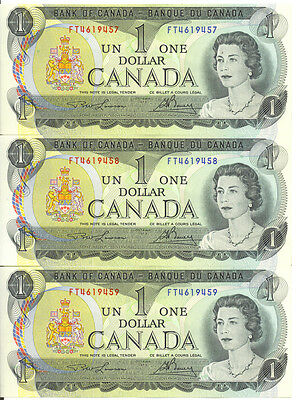 Bank of Canada 1973 $1 One Dollar Lot of 3 Consecutive Notes FT Prefix UNC