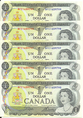 Bank of Canada 1973 $1 One Dollar Lot of 5 Consecutive Notes BFE Prefix UNC