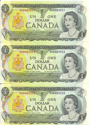 Bank of Canada 1973 $1 One Dollar Lot of 3 Consecutive Notes MU Prefix UNC