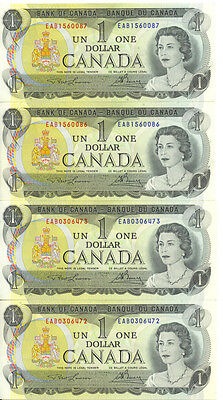 Bank of Canada 1973 $1 One Dollar Lot of 2 Consecutive Pairs EAB Prefix UNC