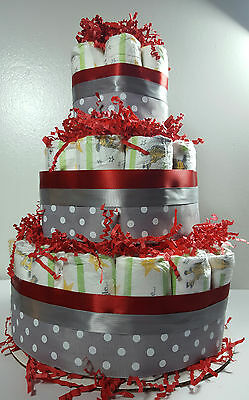 3 Tier Diaper Cake - Red and Silver Polka Dot - Shower Centerpiece