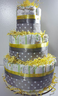 3 Tier Diaper Cake - Yellow and Silver Polka Dot - Shower Centerpiece