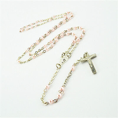 Light Pink Beads & Silver Chain Religious Rosary Necklace With Silver Cross
