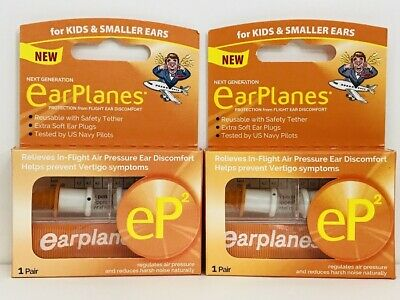EarPlanes Ear Plugs Kid's Small Size U GET 2 BOXES (2 Pairs) GENUINE-SHIPS TODAY