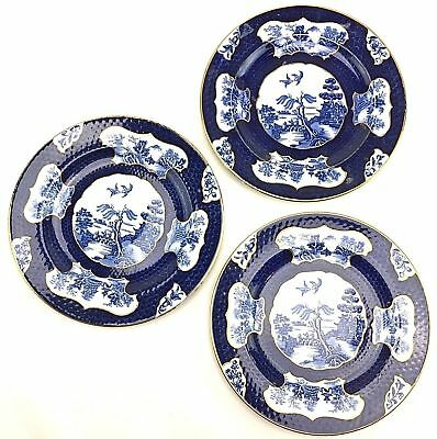3 Rare Early Booths Real Old Willow Blue Scale Salad Plates China Chinoiserie