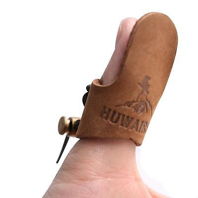Leather Thumb Ring Archery Finger Protector Tab Hunting Target Bow Finger Guard