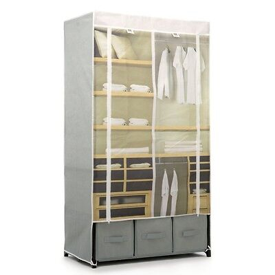 Cosmopolitan Fabric Wardrobe With Shelves - Clothes Storage Rail Rack Cabinet
