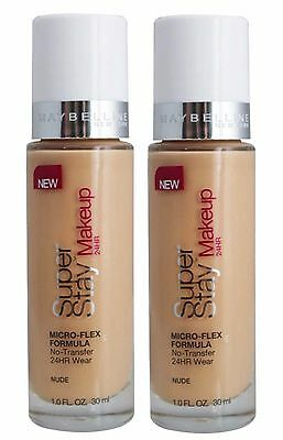 Bulk 2 X Maybelline Superstay 24Hr Foundation #nude - New!!